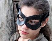 Little Black Cat Leather Mask - Cosplay Superhero Adult Costume - MADE TO ORDER