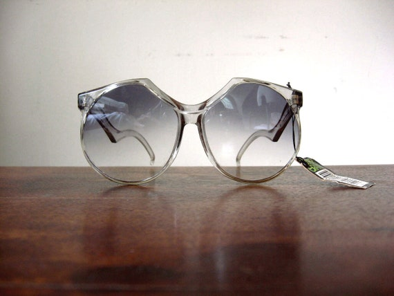 Huge 80s Sunglasses Vintage Deadstock Foster Grant Slate Grey