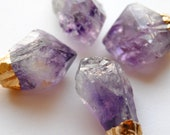 Raw Amethyst Crystal Necklace - Small - Gold Plated - FREE US Shipping