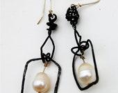 """Earrings Large Dangles Pearls Raw Steel Industrial Elegant """"Ravenna"""" Dangles"""