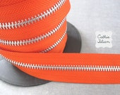 Zipper by the YARD - Pumpkin Orange - ribbon trim 1 yard - zipper flowers, scrapbooking embellishments