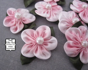 Pink Ombre Flowers - satin w/ pearl center - 12 pcs. Scrapbooking Embellishment - Baby Shower Favors