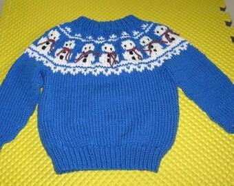 Handknit Snowman Ski Sweater