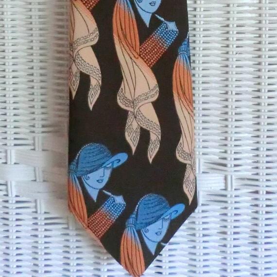 VINTAGE Pretty Lady Mod Necktie