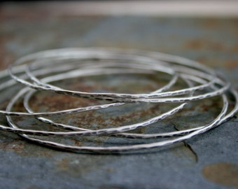6 Sterling Silver Skinny Stacking Bangles, Set of Six, Stacking Bracelet Antique Finish, Stackable Bangle, Hammered Oxidized, Rustic Finish
