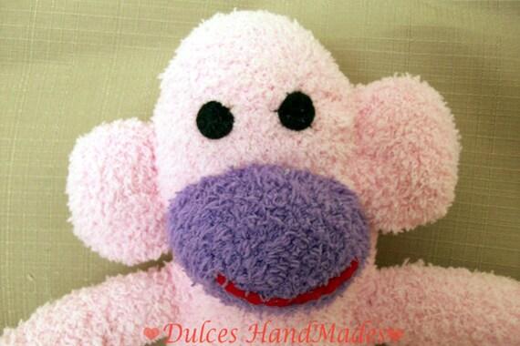 sock monkey plush toy Handmade Stuffed Animal Doll Baby pink