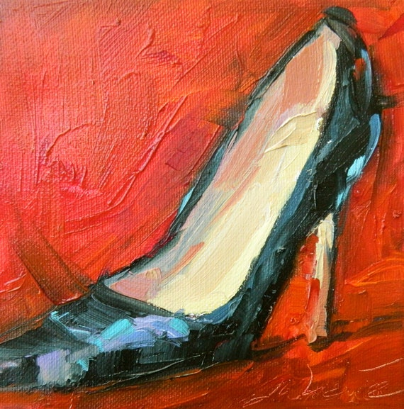 Fun Shoes, original oil painting 8 by 8
