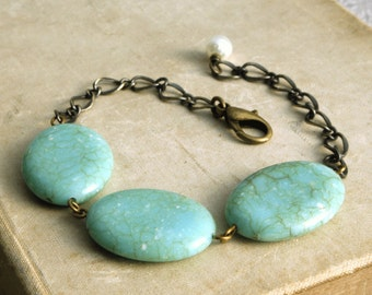 Turquoise Beaded Bracelet, Chunky Beaded Bracelet, Chain Bracelet with Beads, Turquoise Blue