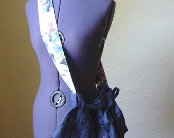 Upcycled Purse, Handmade Purse, Skirt Purse, Shoulder Bag, Unique Bag, Accessories, Dark Blue, Wide Flower Strap,Pockets,Pleated,Hippie Boho