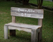 Wedding Sign Gift His and Her Name Personalized Bench Wood Anniversary Gift. Rustic Wedding Decoration .Park Bench With Date Painted Bench