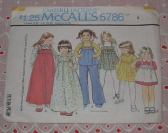 McCall's Sewing Pattern 5786 Size Girls 6