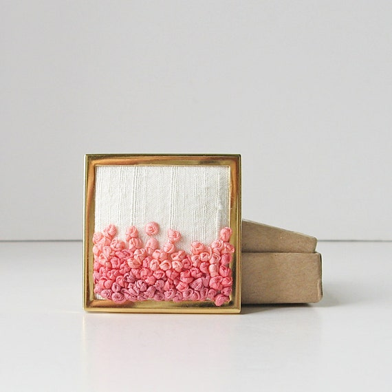 Coral Ombre Brooch Pin. Orange gradient. hand embroidered silk ribbon.