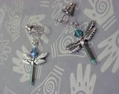 Dragonfly Post Earrings with a lovely Twist. Tiny irridescent Green and Sterling  handmade in Michigan, No Shipping charges