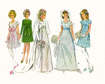 60s Wedding dress pattern mod bridesmaid dresses vintage sewing pattern McCalls 9652 Bust 34