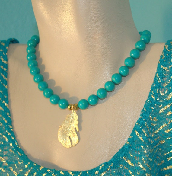 Turquoise Statement Necklace, Modern Bohemian Necklace, Chunky, Gold, Blue Green Necklace, Resort Necklace, SUMMER SALE