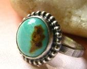 Kingman Turquoise Ring - Metalsmith Artisan Ring - Sterling Silver And Stone Ring - Size 5