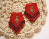 Vintage military patches decoration, red felt.