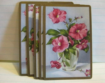 Vintage Flowers Playing Cards--Set of 10