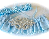 Wedding Garter Set Jeweled and Something Beautiful Blue