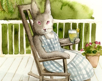 "Rabbit Painting-  "" On the Porch "" print of original watercolor painting"