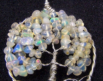 Opal Tree of Life pendant.- Ethiopian Opal - Welo Opal - Wello Opal - necklace pendant -  Sterling Silver jewelry pendant, comes with chain