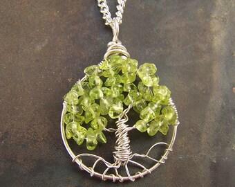 Peridot Tree of Life pendant - Sterling Silver - Peridot - Petite - small Tree of Life - Gemstone necklace - August birthstone - light green