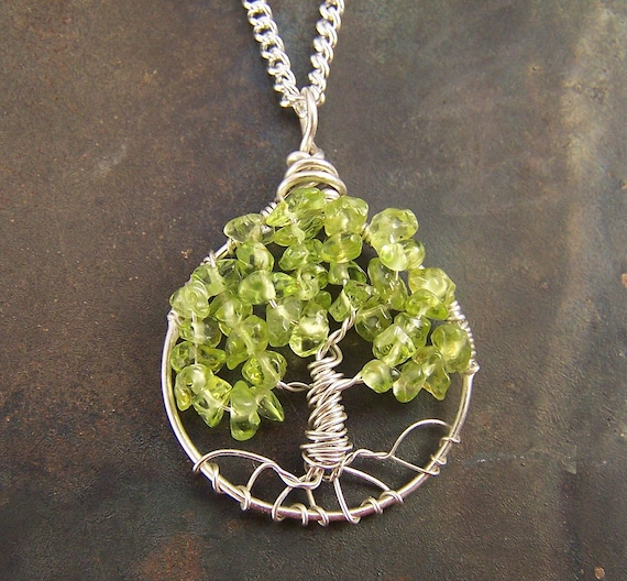 Peridot Tree of Life pendant - Sterling Silver - Peridot - Petite - small Tree of Life - Gemstone necklace - August birthstone - light green