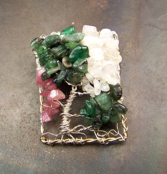 Tree of Life Brooch Pin - Emerald - Pink Tourmaline - Rainbow Moonstone - Rectangular - gemstone - STerling Silver