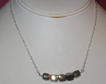 Pyrite Cubes on Sterling Silver Chain Gemstone Bar Necklace