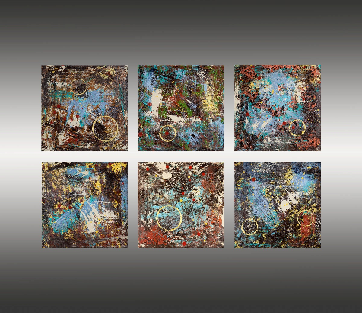 Original abstract modern art canvas painting wall art by for Canvas to paint on