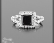 Square Cut Black Diamond Engagement Ring with White Diamond Halo & Split Shank - LS1429