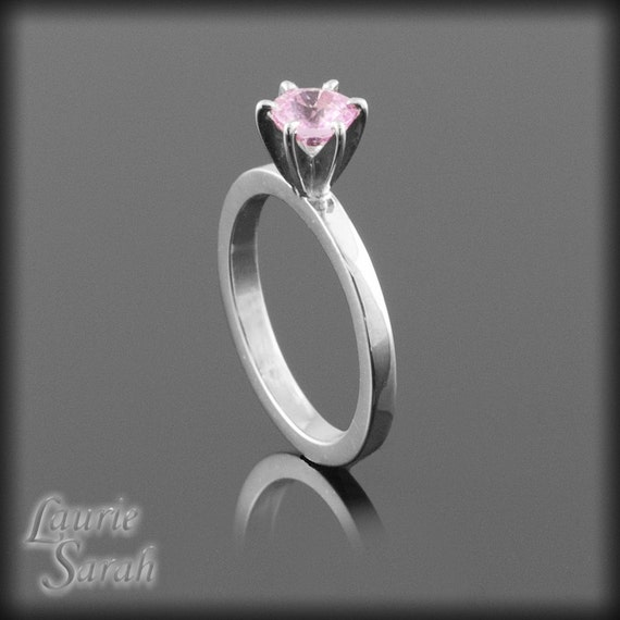 Pink Sapphire Solitaire Engagement Ring - LS953