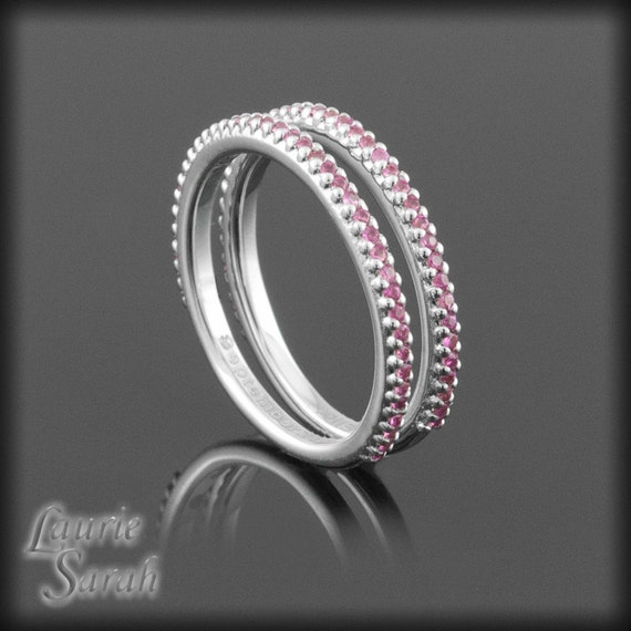 Pink Sapphire Prong Set Band Duo in 14kt White Gold - LS1783
