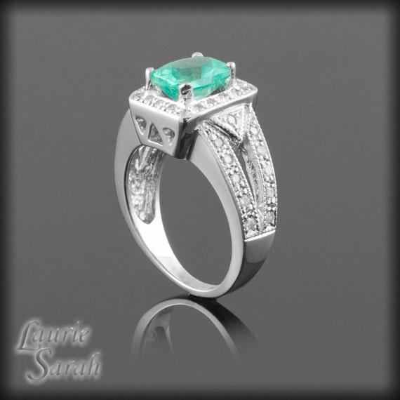 Cushion Cut Engagement Ring, Rectangular Apatite and Diamond Ring with split shank - LS123