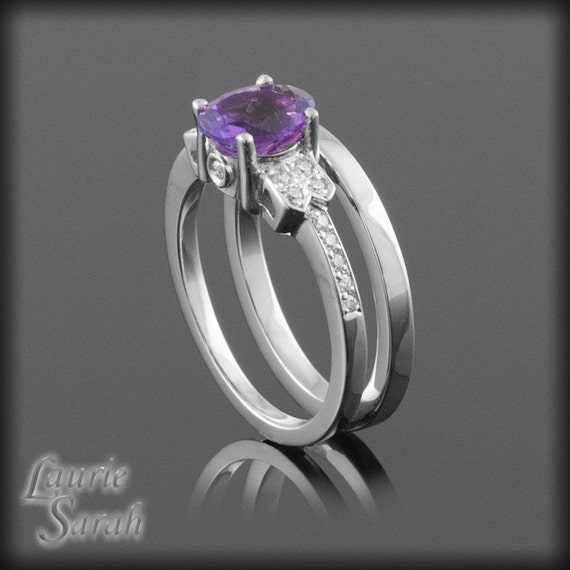 Amethyst engagement ring amethyst and diamond wedding set for Amethyst diamond wedding ring set