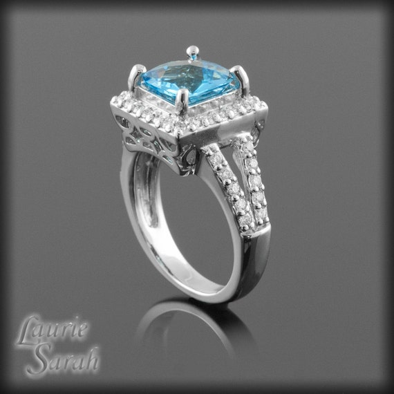 Cushion Cut Blue Topaz and Diamond Ring with Squared Halo and Split Shank - LS292