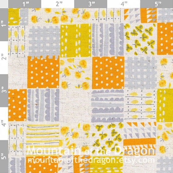 Heather Ross Fabric - Nursery Versery Penny Patchwork in Grey, Yellow, Orange - Half Yard