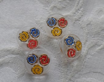 4 Vintage Glass Buttons-  Primary Colors