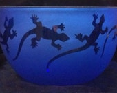 Anoles in Blue (Bowl)