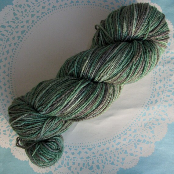 Knitcircus Pixie Dust Fingering Glitter Sock Yarn Hand-dyed  OOAK Color: Moss and Lichen