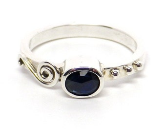 Rose Cut Blue Sapphire In Sterling Silver