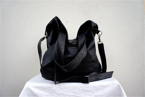 NEW //XL Agatha Fold Over in Black Aniline Leather with Clip On Adjustable Messenger Strap