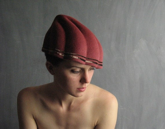 Free Shipping/Can./U.S.-Nouveau Shell No.12- muted coral/salmon fur felt hat