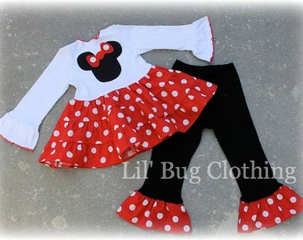 Minnie Mouse Girl Outfit, Minnie Mouse Red White Polka Dot Outfit, MInnie Mouse Birthday Girl Outfit, Minnie Mouse Girl Clothes