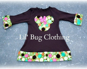 Custom Boutique Clothing Brown Knit Comfy Fall Minnie Mouse and Dots Dress