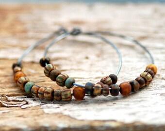 Bohemian Earrings, Sterling Silver Hoops, Hoop Earrings, Boho Hoops, Boho Chic, Copper Brown, Earthtones, Tribal Earrings, Oxidized Silver