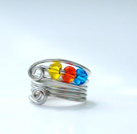 Wire Ring, Beaded Ring, Funky Ring, Silver Metal Ring - Wild Child