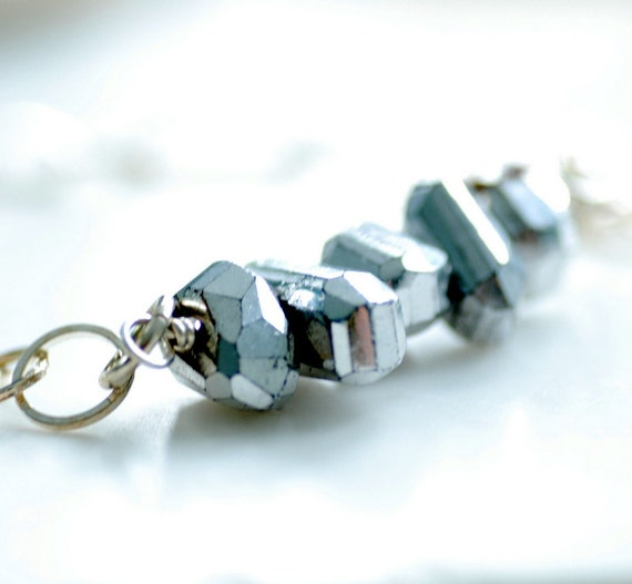 Silver Pyrite Necklace, Faceted Stone and Sterling Silver - Fool's Gold