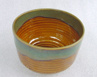 Wheelthrown Pottery Tea Bowl (or Cup) in Amber, Sage Green and Blue