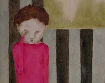 "Girl's room art. digital print. nursery decor. kid's room. fuchsia pink chestnut brown gray, ""Morning"""